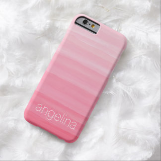 Modelo rayado del color de agua con nombre de funda de iPhone 6 barely there