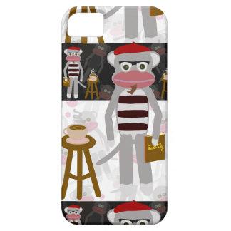 Modelo rayado del mono del calcetín del Beatnik iPhone 5 Fundas