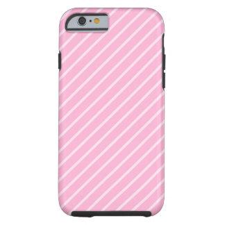 Modelo rayado diagonal rosado del caramelo funda de iPhone 6 tough
