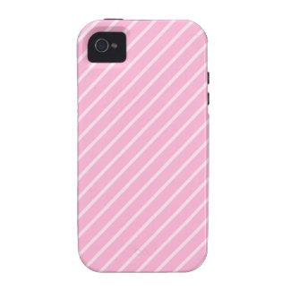 Modelo rayado diagonal rosado del caramelo vibe iPhone 4 funda