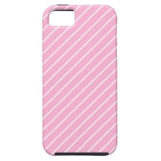 Modelo rayado diagonal rosado del caramelo iPhone 5 fundas