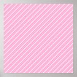 Modelo rayado diagonal rosado del caramelo poster