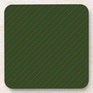 Modelo rayado diagonal verde oscuro posavasos de bebidas