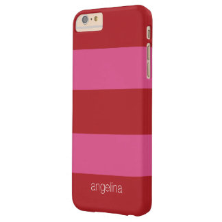 Modelo rayado moderno con nombre de encargo funda barely there iPhone 6 plus