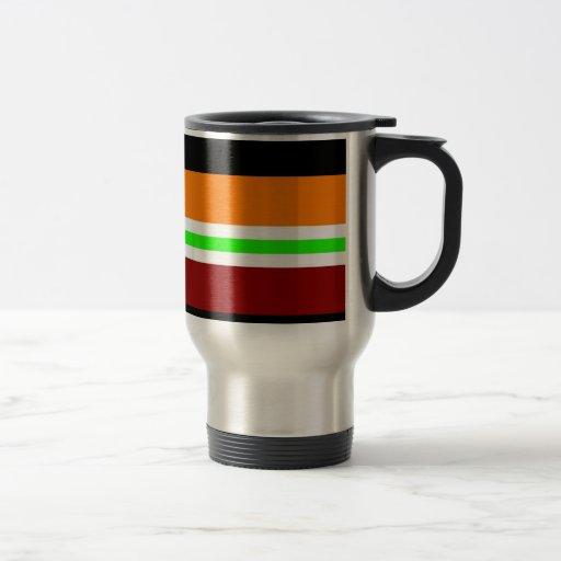 Modelo rayado negro verde anaranjado rojo colorido taza de viaje