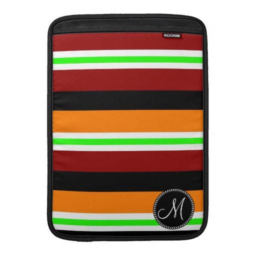 Modelo rayado negro verde anaranjado rojo del mono funda macbook air