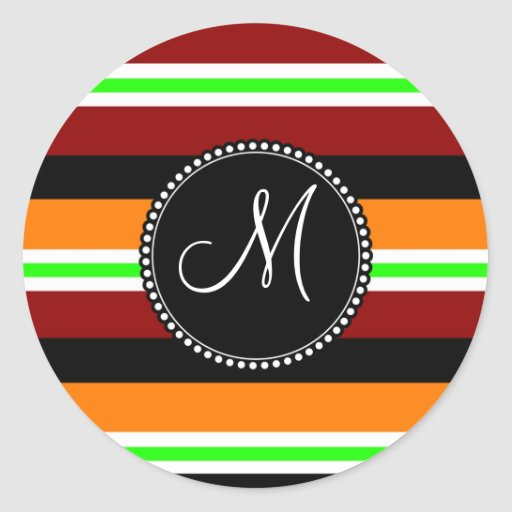 Modelo rayado negro verde anaranjado rojo del pegatina redonda