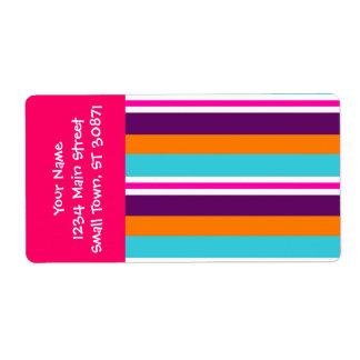 Modelo rayado púrpura anaranjado del trullo del ro etiqueta de envío