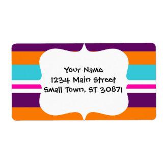 Modelo rayado púrpura anaranjado del trullo del ro etiquetas de envío