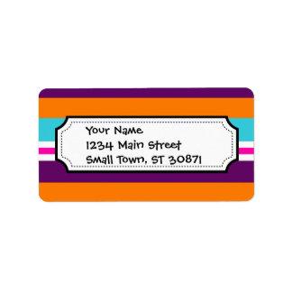 Modelo rayado púrpura anaranjado del trullo del ro etiquetas de dirección