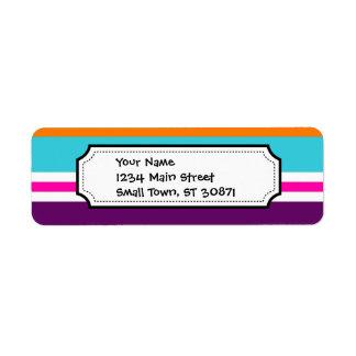 Modelo rayado púrpura anaranjado del trullo del ro etiqueta de remite