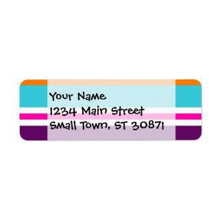 Modelo rayado púrpura anaranjado del trullo del ro etiquetas de remite