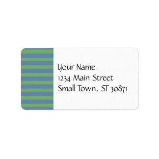 Modelo rayado púrpura suavemente verde y azul etiqueta de dirección