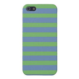 Modelo rayado púrpura suavemente verde y azul iPhone 5 carcasas