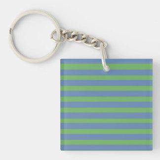 Modelo rayado púrpura suavemente verde y azul llavero cuadrado acrílico a doble cara