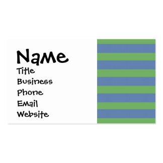 Modelo rayado púrpura suavemente verde y azul tarjetas de visita