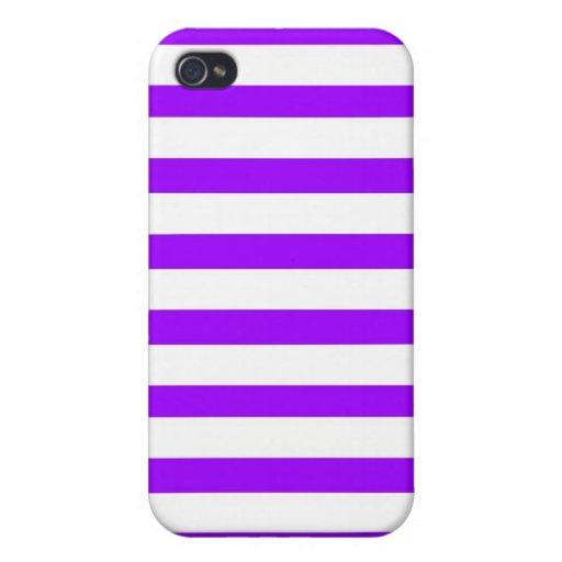 Modelo rayado púrpura y blanco bonito iPhone 4 protector