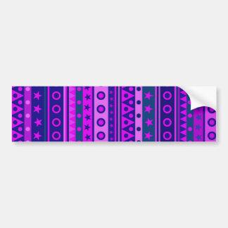 Modelo rayado púrpura y rosado azul etiqueta de parachoque