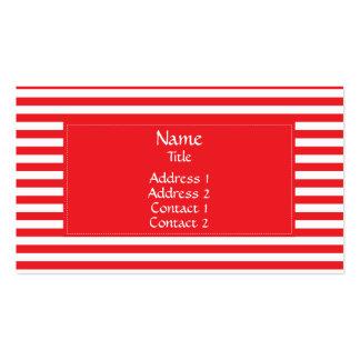 Modelo rayado rojo y blanco tarjetas de visita