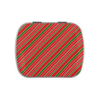Modelo rayado rojo y verde del navidad jarrones de caramelos