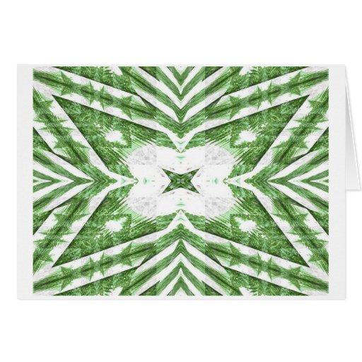 modelo rayado verde y blanco, ángulos florales tarjetón