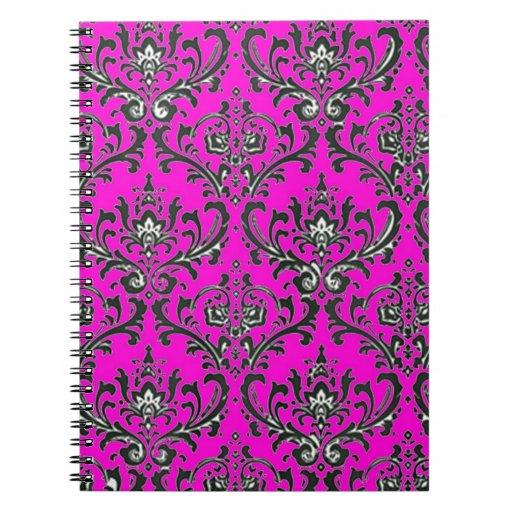 Modelo razberry del damasco negro rosado libro de apuntes con espiral