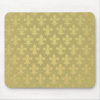 Modelo real de oro simple de la flor de lis alfombrilla de ratón