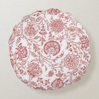 Modelo redondo de la flor roja y blanca cojín redondo