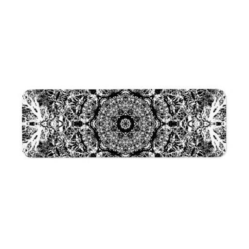 Modelo redondo decorativo blanco y negro etiqueta de remitente
