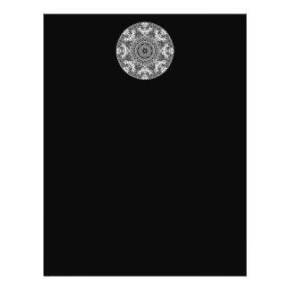 "Modelo redondo decorativo blanco y negro folleto 8.5"" x 11"""