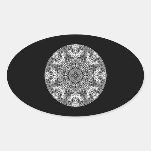 Modelo redondo decorativo blanco y negro calcomanías óvales personalizadas