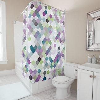 Modelo redondo retro de los cuadrados de la verde cortina de baño