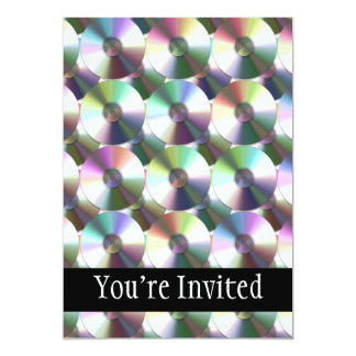 "Modelo reflexivo del arco iris del disco compacto invitación 5"" x 7"""