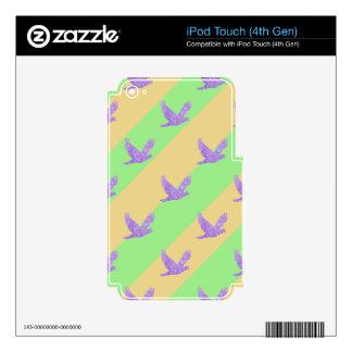 Modelo reluciente rayado del pájaro iPod touch 4G calcomanías