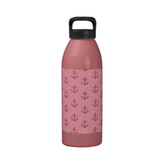 Modelo reluciente rosado del ancla botella de beber