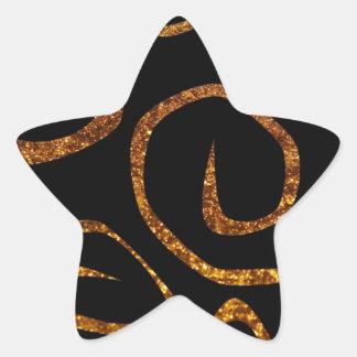 Modelo remolinado, estilo de Swirly, brillo - oro Pegatina En Forma De Estrella