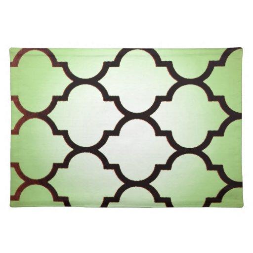 modelo repetible del enrejado marroquí negro verde mantel