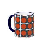 modelo retro 70s en anaranjado y azul tazas