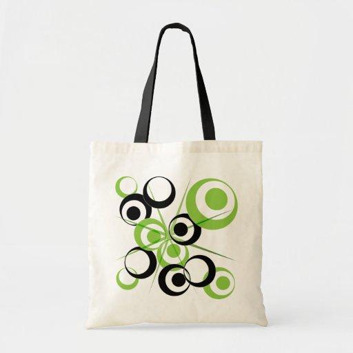 Modelo retro abstracto del círculo bolsa tela barata