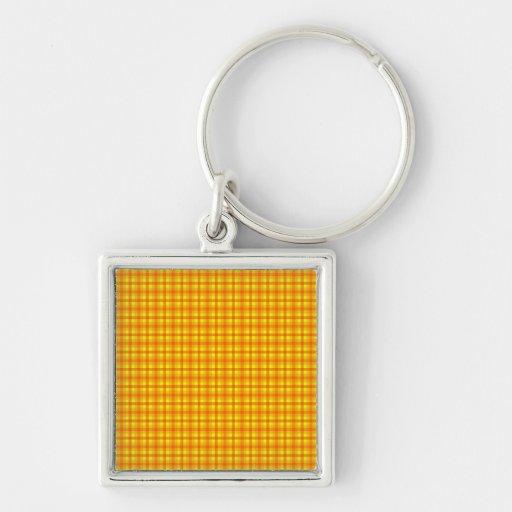 Modelo retro amarillo-naranja y rojo de Chequed Llavero Cuadrado Plateado