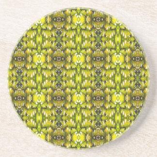 Modelo retro amarillo y verde de la mostaza del pa posavasos diseño