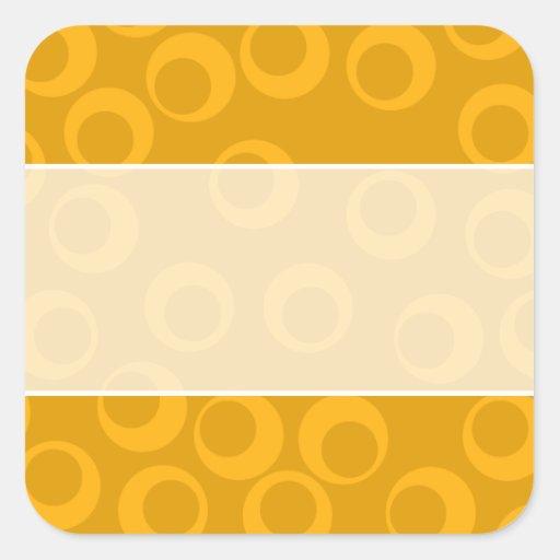 Modelo retro anaranjado calcomania cuadradas personalizada