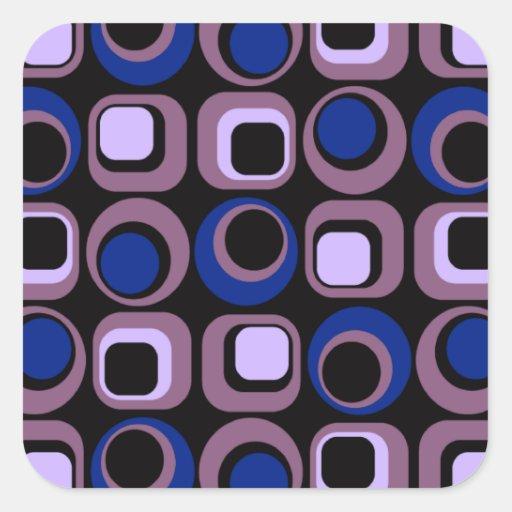 Modelo retro azul de los cuadrados pegatina cuadrada