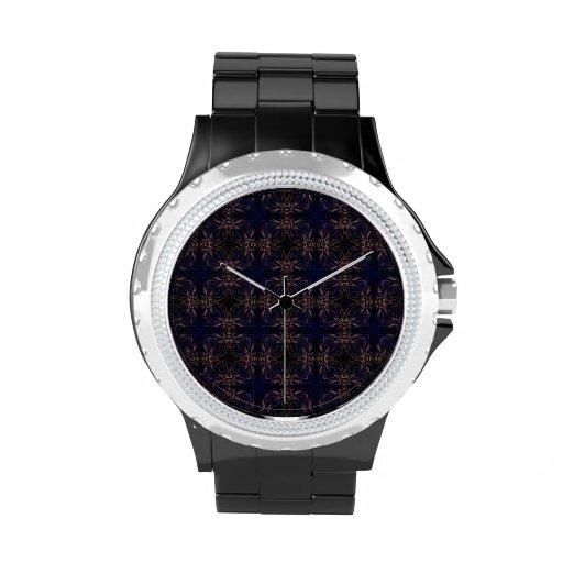 Modelo retro azul del fractal reloj de mano