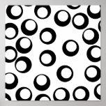 Modelo retro blanco y negro de los círculos impresiones