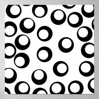 Modelo retro blanco y negro de los círculos póster