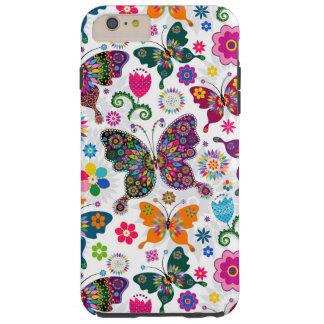 Modelo retro colorido de las mariposas y de flores funda de iPhone 6 plus tough
