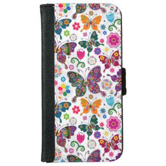 Modelo retro colorido de las mariposas y de flores carcasa de iPhone 6