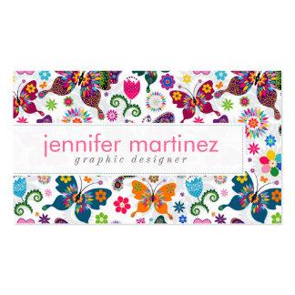 Modelo retro colorido de las mariposas y de flores tarjetas de visita