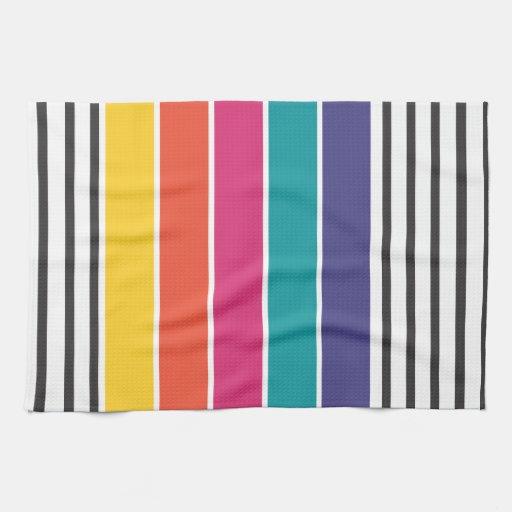 Modelo retro colorido del estallido toallas de cocina